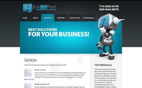 Screenshot of Services Page askbillfirst.com - AskBillFirst | Services - captured July 26, 2016