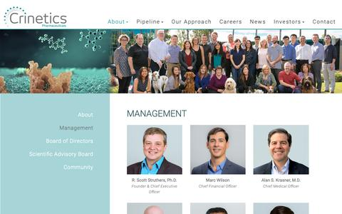 Screenshot of Team Page crinetics.com - Management - Crinetics Pharmaceuticals - captured Sept. 30, 2018