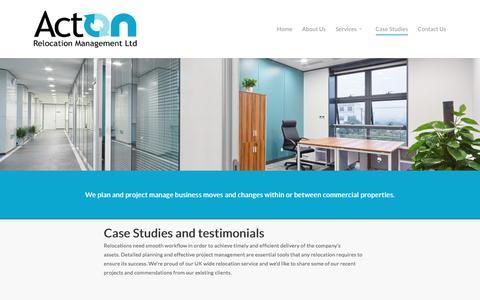 Screenshot of Case Studies Page acton-relocation-management.co.uk - Case Studies - Acton Relocation Management Ltd - captured Nov. 20, 2016