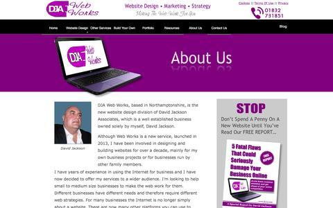 Screenshot of About Page d-j-a.com - About DJA Web Works - Website Design based in Northamptonshire - captured Jan. 5, 2017