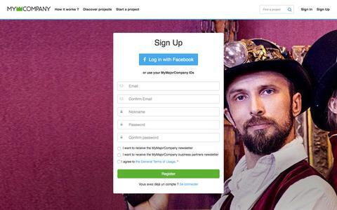 Screenshot of Signup Page mymajorcompany.com - MyMajorCompany - Sign up - captured Jan. 20, 2016