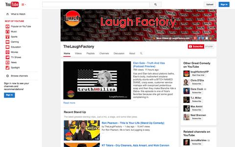 Screenshot of YouTube Page youtube.com - TheLaughFactory  - YouTube - captured Oct. 21, 2014