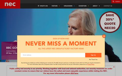 Screenshot of Home Page thenec.co.uk - Welcome to our Event Venue | the NEC, Birmingham - captured Oct. 19, 2018