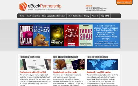 Screenshot of Home Page ebookpartnership.com - eBook conversion service and eBook distribution by eBook Partnership - captured Sept. 23, 2014