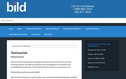 Screenshot of Testimonials Page bildnow.com - BILD Testimonials | Bridgeway Independent Living Designs, LLC - captured Oct. 11, 2017