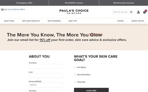Screenshot of Signup Page paulaschoice.com - Paula's Choice - captured Jan. 9, 2020