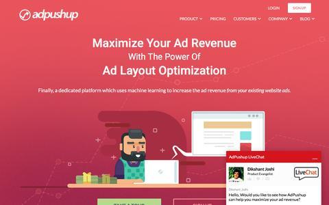 Screenshot of Home Page adpushup.com - Ad Layout Optimization - AdPushup - captured June 28, 2016