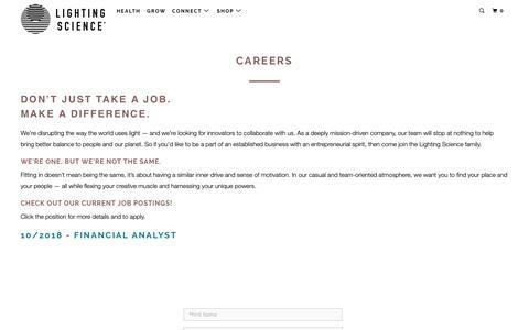 Screenshot of Jobs Page lsgc.com - Employment Opportunities   Lighting Science - captured Oct. 25, 2018