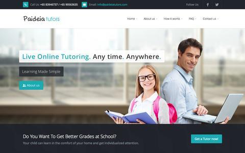 Screenshot of Home Page paideiatutors.com - Paideia Tutors - Online tutors - captured Sept. 27, 2014