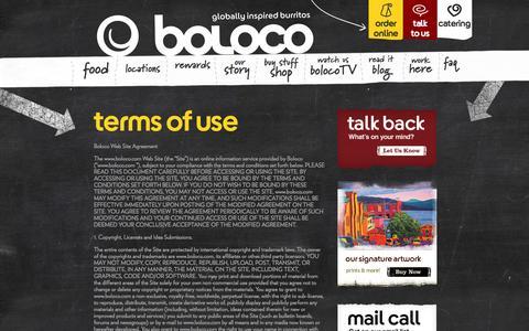 Screenshot of Terms Page boloco.com - » Terms of Use - captured Sept. 23, 2014