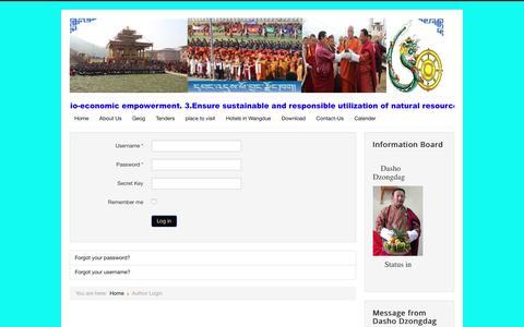Screenshot of Login Page wangduephodrang.gov.bt - Author Login - captured June 4, 2016