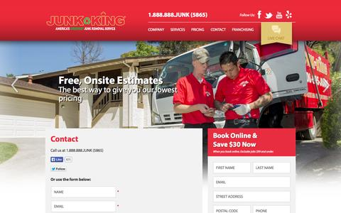 Screenshot of Contact Page junk-king.com - Contact - Junk Removal and Hauling Services | Junk King - captured Sept. 23, 2014