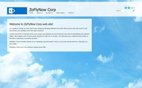 Screenshot of Home Page zoflynow.com - ZoFlyNow Corp - captured Oct. 7, 2014