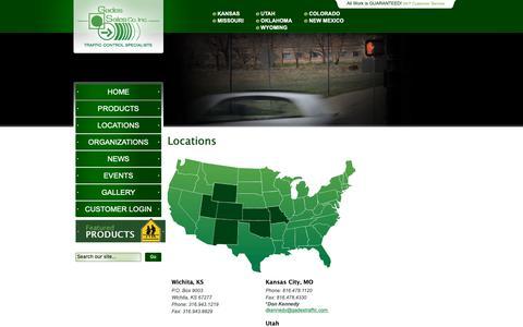 Screenshot of Locations Page gadestraffic.com - Traffic Signals Kansas Missouri Colorado Utah Wyoming Oklahoma - Gades - captured Sept. 27, 2018