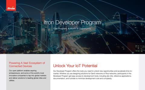 Screenshot of Developers Page itron.com - Developers - captured Oct. 1, 2018