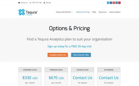 Screenshot of Trial Page tequraanalytics.com - Tequra Analytics   Options & Pricing - captured Oct. 7, 2014