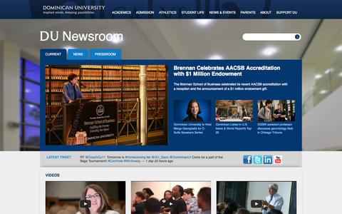 Screenshot of Press Page dom.edu - Dominican University Newsroom | Inspired Minds. Amazing Possibilities. - captured Oct. 5, 2014