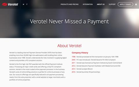 Screenshot of About Page Privacy Page verotel.com - Verotel Never Missed a Payment - captured Aug. 21, 2016