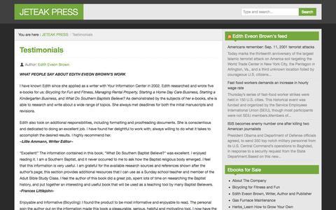 Screenshot of Testimonials Page jeteakpress.com - Testimonials - JETEAK PRESS - captured Sept. 30, 2014