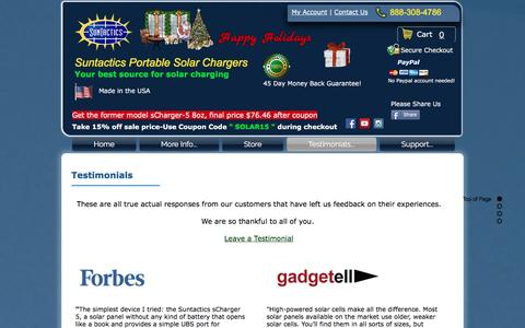 Screenshot of Testimonials Page suntactics.com - Suntactics solar charger testimonials | reviews - captured Dec. 11, 2016