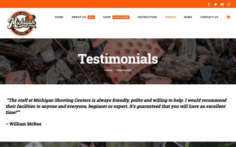 Screenshot of Testimonials Page mishoot.com - Testimonials - Michigan Shooting Centers | Island Lake and Bald Mountain Shooting Ranges - captured Oct. 18, 2018