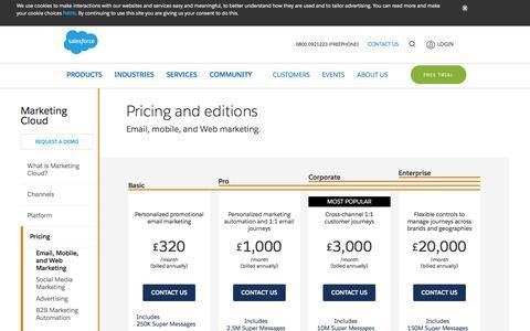 Screenshot of Pricing Page salesforce.com - Email, Mobile, and Web Marketing Pricing | Salesforce Marketing Cloud - Salesforce UK - captured Feb. 8, 2017