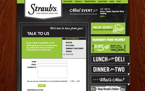 Screenshot of Contact Page straubs.com - Talk to Us   Straub's - captured Sept. 30, 2014