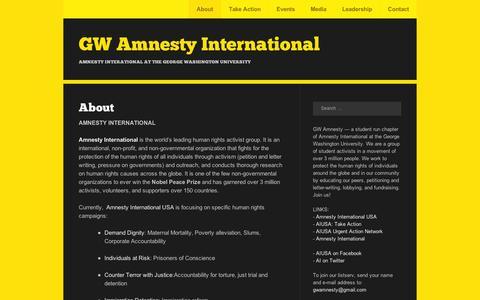 Screenshot of About Page wordpress.com - About | GW Amnesty International - captured Sept. 12, 2014