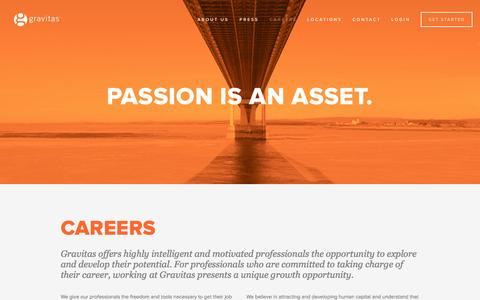 Screenshot of Jobs Page gravitas.co - CAREERS — Gravitas.co - captured Sept. 30, 2014