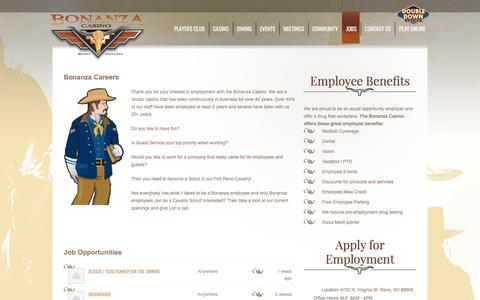 Screenshot of Jobs Page bonanzacasino.com - Job Openings | Bonanza Casino | Reno, Nevada - captured June 2, 2017