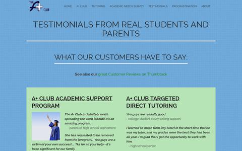 Screenshot of Testimonials Page school4schools.com - Testimonials from real parents and students - the A+ Club - captured Feb. 4, 2016