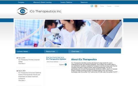 Screenshot of Home Page icotherapeutics.com - iCo Therapeutics Inc. - captured Oct. 19, 2018