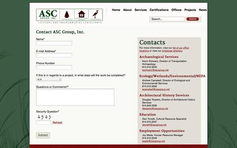 Screenshot of Contact Page ascgroup.net - Contact Us - captured Oct. 4, 2014