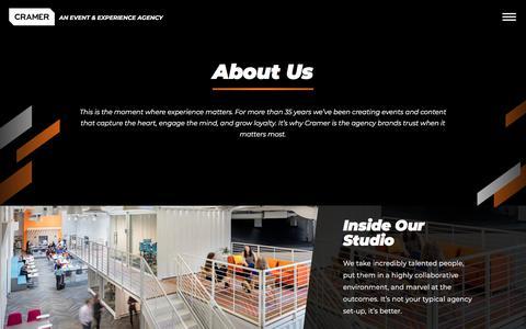Screenshot of About Page cramer.com - About Us - Cramer - captured Nov. 5, 2019