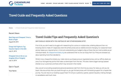 Screenshot of FAQ Page cheapairline-tickets.org - Travel Guide and Frequently Asked Questions - Cheap Airline Tickets - captured Sept. 19, 2019