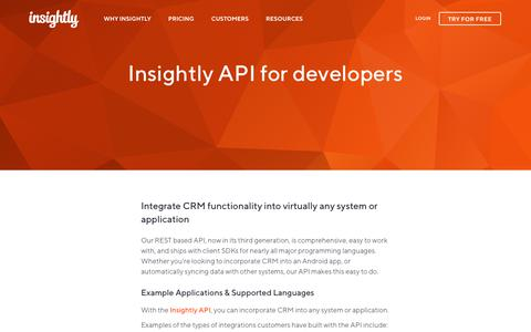 Screenshot of Developers Page insightly.com - CRM Integrations Insightly CRM API Integration | Insightly - captured July 29, 2019