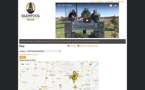 Screenshot of Maps & Directions Page glenpoolchamber.org - Map - Glenpool Chamber of Commerce, OK - captured Sept. 28, 2018
