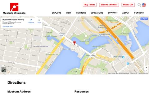 Screenshot of Maps & Directions Page mos.org - Directions | Museum of Science, Boston - captured June 16, 2015