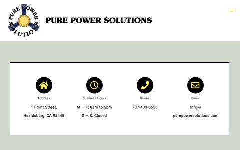 Screenshot of Contact Page purepowersolutions.com - Contact Page - Pure Power Solutions - captured Nov. 8, 2019