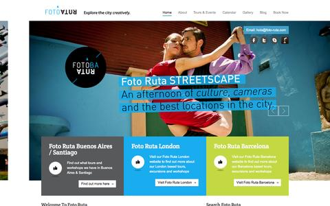 Screenshot of Home Page foto-ruta.com - Photography Tours and Photography Courses in Buenos Aires and Santiago | Welcome to Foto Ruta, the home of Photography Tours and Photography Courses in Buenos Aires  Argentina and Santiago. We offer a wide range of fun and exciting tours and events. - captured Oct. 6, 2014