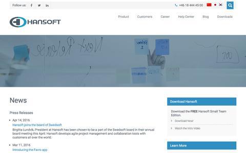 Screenshot of Press Page hansoft.com - News – Hansoft - captured July 3, 2016