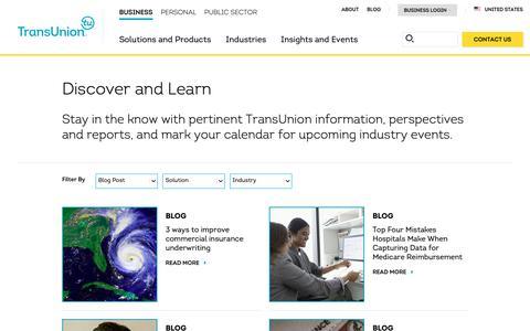 Screenshot of Blog transunion.com - Insights & Events   TransUnion - captured Jan. 14, 2019