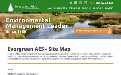 Screenshot of Site Map Page evergreenaes.com - Evergreen AES | Environmental Contractors and Consultants - captured Sept. 29, 2018