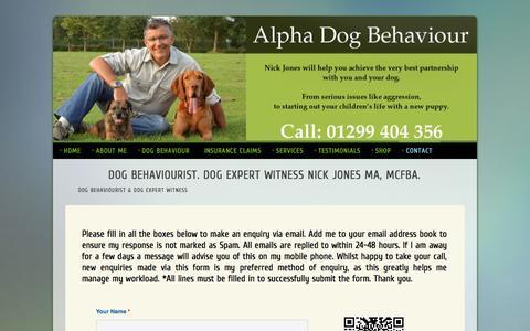 Screenshot of Contact Page alphadogbehaviour.co.uk - Contact Page for Nick Jones MA. Dog Behaviourist. Dog Expert Witness. Alpha Dog Behaviour - captured Sept. 30, 2014