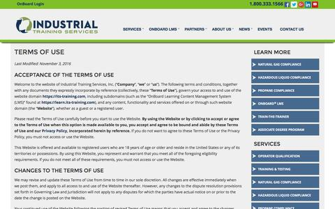 Screenshot of Terms Page its-training.com - Industrial Training Services Terms & Conditions - captured Nov. 19, 2016