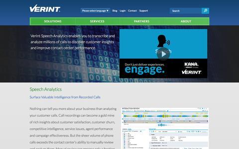Speech Analytics - Voice of the Customer | Verint Systems