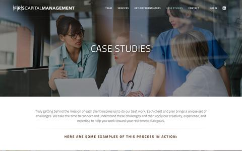 Screenshot of Case Studies Page frscapital.com - FRS Capital Management - captured Oct. 10, 2018