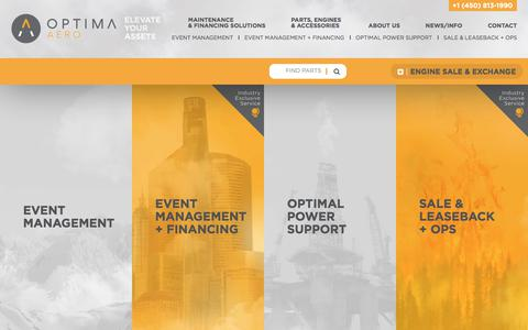 Screenshot of Home Page optima-aero.ca - Optima Aero | Helicopter Engine Asset Management Solutions - captured June 16, 2017