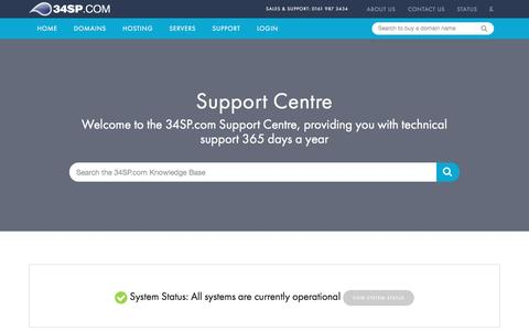 Screenshot of Support Page 34sp.com - Web Hosting Support from 34SP.com | 34SP.com - captured Jan. 18, 2016