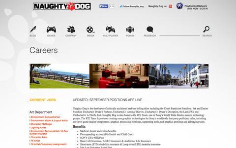 Screenshot of Jobs Page naughtydog.com - Naughty Dog Careers - captured Sept. 23, 2014